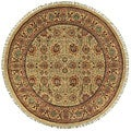 Hand-knotted Finial Gold Wool Rug (5' Round)