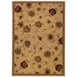 Indoor Beige Floral Area Rug (5' x 7'6)