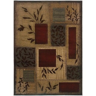 Indoor Green Abstract Area Rug (5' x 7'6)