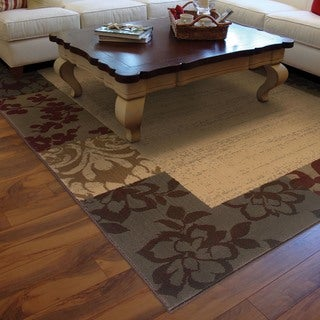 Indoor Beige Border Area Rug (5' x 7'6)