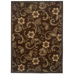 "Casual Brown Floral Rug (3'2"" x 5'7"")"
