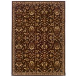 Brown Floral Rug (3'2 x 5'7)