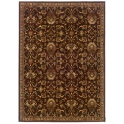 "Traditional Brown Floral Rug (5' x 7'6"")"