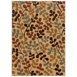 Beige Abstract Polypropylene Rug (5' x 7'6