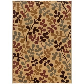 "Beige Abstract Polypropylene Rug (5' x 7'6"")"