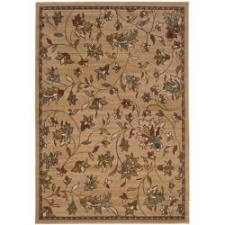 "Casual Brown Floral Rug (5' x 7'6"")"
