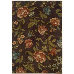 "Brown Floral Polypropylene Rug (5' x 7'6"")"
