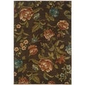 Brown Floral Polypropylene Area Rug (7'10