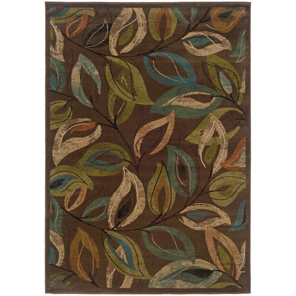 Brown Leaves Abstract Rug (5' x 7'6)