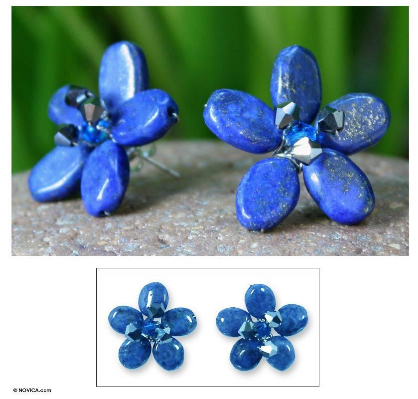 'Blue Flower' Lapis Lazuli Button Earrings (Thailand)