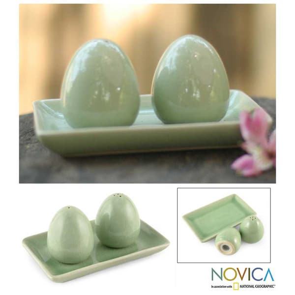 Celadon Ceramic 'Eggs' Salt and Pepper Shakers Set (Thailand)