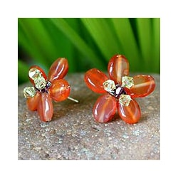 'Honey Flower' Carnelian Button Earrings (Thailand)