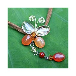Leather 'Flight' Carnelian and Citrine Necklace (Thailand)