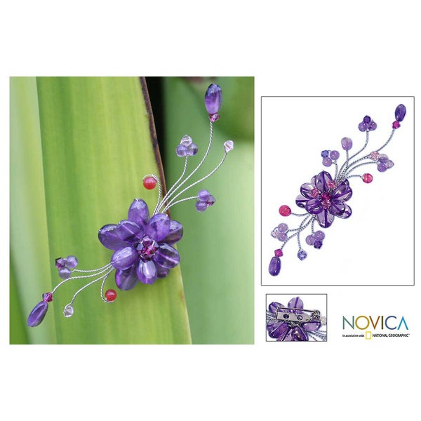 Stainless Steel 'Lilac Bouquet' Amethyst Brooch (Thailand)
