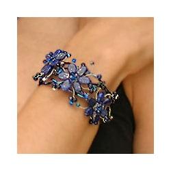 Stainless Steel 'Garland' Lapis Lazuli Wrap Bracelet (Thailand)