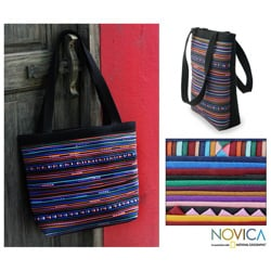 Cotton 'Rainbow Parallels' Medium Handbag (Thailand)