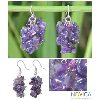 Sterling Silver 'Lilac' Amethyst Cluster Earrings (Thailand)