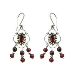 Sterling Silver 'Love Blossoms' Garnet Chandelier Earrings (Indonesia)