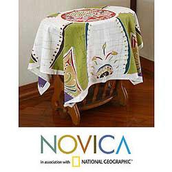 Handcrafted Cotton 'Real Life' Batik Tablecloth (Thailand)