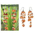 Sterling Silver 'Ginger Rain' Carnelian Waterfall Earrings (Thailand)