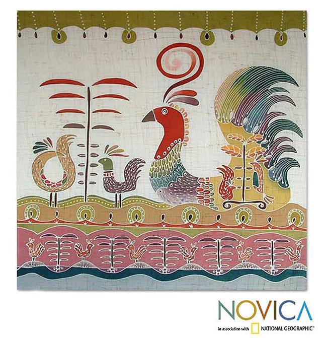Handcrafted Cotton 'Bird Fancy' Batik Wall Hanging (Thailand)