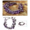 Stainless Steel 'Violet Swing' Amethyst Bracelet (Thailand)