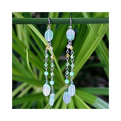 Sterling Silver 'Shimmering Perfection' Quartzite Earrings (Thailand)
