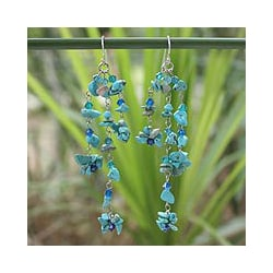 Sterling Silver 'Quiet Rain' Turquoise Waterfall Earrings (Thailand)