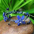 Stainless Steel 'Butterfly Bloom' Lapis Lazuli Wrap Bracelet (Thailand)