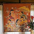 Handcrafted Cotton 'At The Market' Batik Wall Hanging (Thailand)
