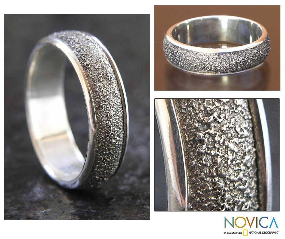 Men's Sterling Silver 'Raw' Ring (Indonesia)