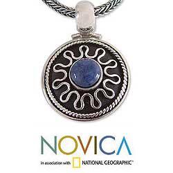 Sterling Silver 'Midnight Sun' Sodalite Necklace (Peru)