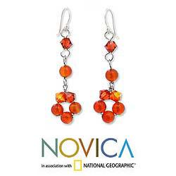 Sterling Silver 'Summer Delight' Carnelian Earrings (Thailand)