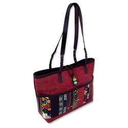 Cotton 'Hill Tribe Chic In Burgundy' Medium Shoulder Bag (Thailand)