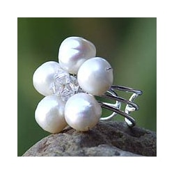 Sterling Silver 'White Blossom' Cultured Pearl Ring (8 mm) (Thailand)