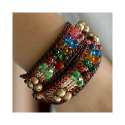 Set of 2 Brass 'Bold Brown Fortunes' Wristband Beaded Bracelets (Thailand)