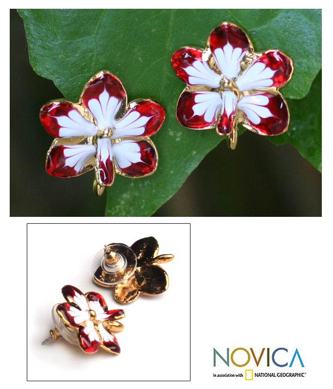 Gold Plated Natural Orchid 'Timeless Dancer' Earrings (Thailand)