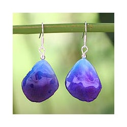 Natural Orchid 'Twilight' Handcrafted Dangle Earrings (Thailand)