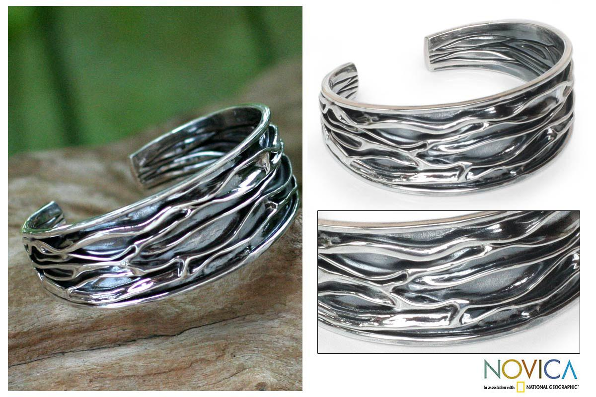 Sterling Silver 'River' Cuff Bracelet (Thailand)