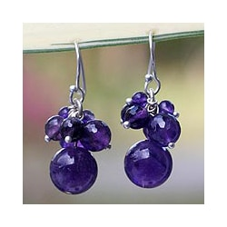 Sterling Silver 'Friends' Amethyst Earrings (Thailand)