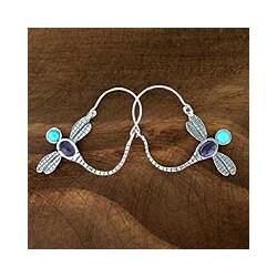 Sterling Silver 'Dragonfly' Amethyst Hoop Earrings (Mexico)