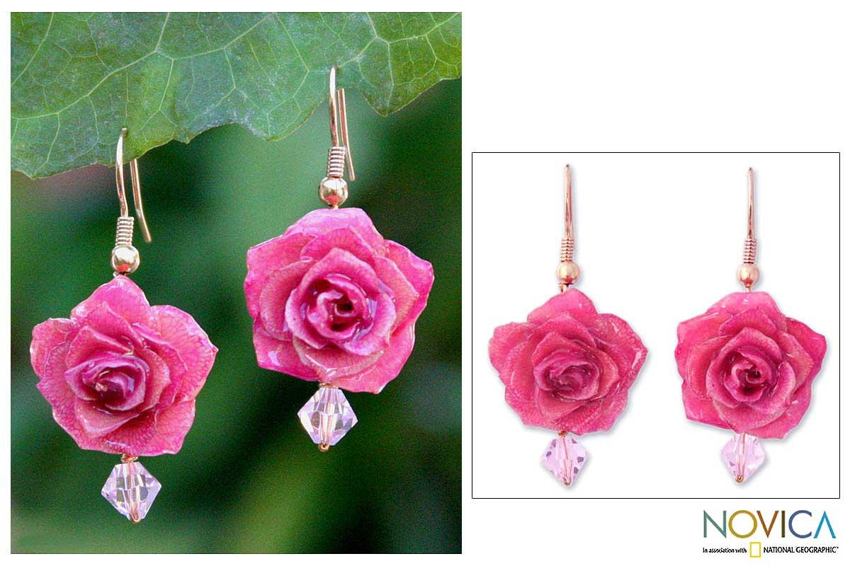 Gold Overlay 'Timeless Pink' Natural Rose Earrings (Thailand)