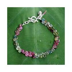 Sterling Silver 'Romantic Rain' Tourmaline Beaded Bracelet (Thailand)