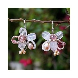'Honey Peach' Freshwater Pearl Quartz Earrings (3-6 mm) (Thailand)
