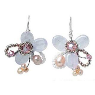 'Honey Peach' Freshwater Pearl Quartz Earrings (3-6 mm) (Thailand) 7533016
