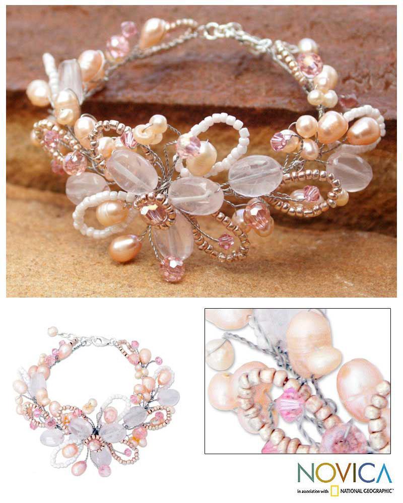 'Honey Peach' Freshwater Pearl Bracelet (4-6 mm) (Thailand)