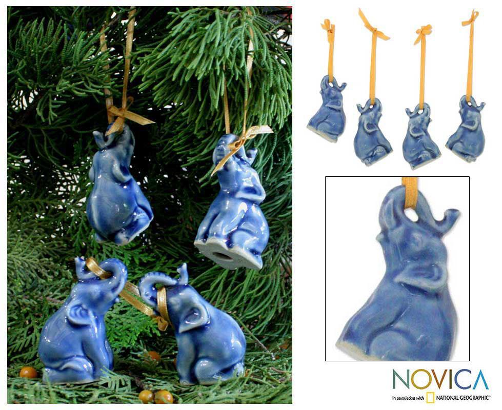Set Of 4 Ceramic 'Blue Elephant Heralds' Celadon Ornaments (Thailand)