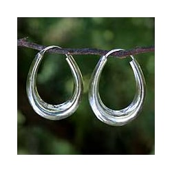 Sterling Silver 'Modern Treasure' Handcrafted Hoop Earrings (Thailand)