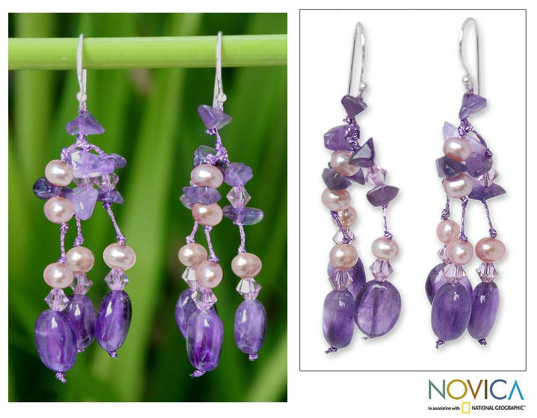 'Lavender Ice' Freshwater Pearl Amethyst Earrings (4 mm) (Thailand)