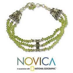Sterling Silver 'Fresh Green' Peridot Beaded Bracelet (India)